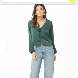 Forever 21 green satin blouse
